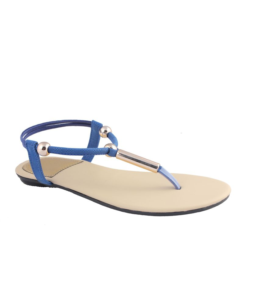 MDR Blue Faux Leather Sandals