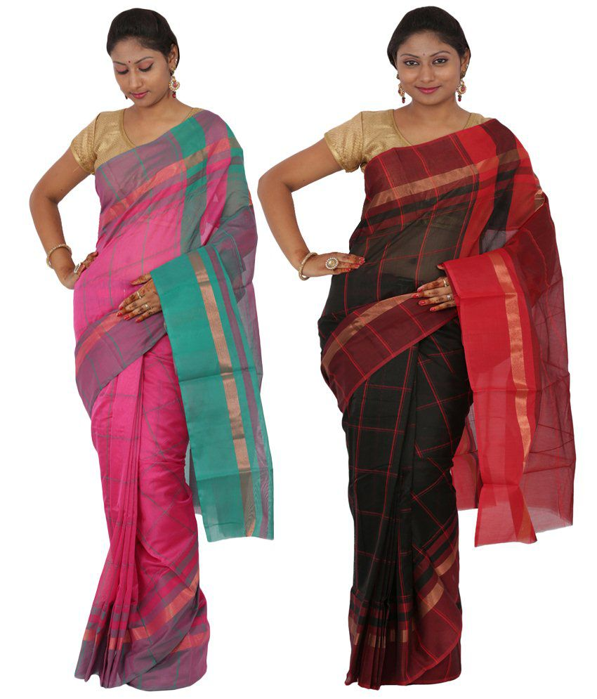 Maharaja Fashion Black & Pink Art Silk Pack of 2