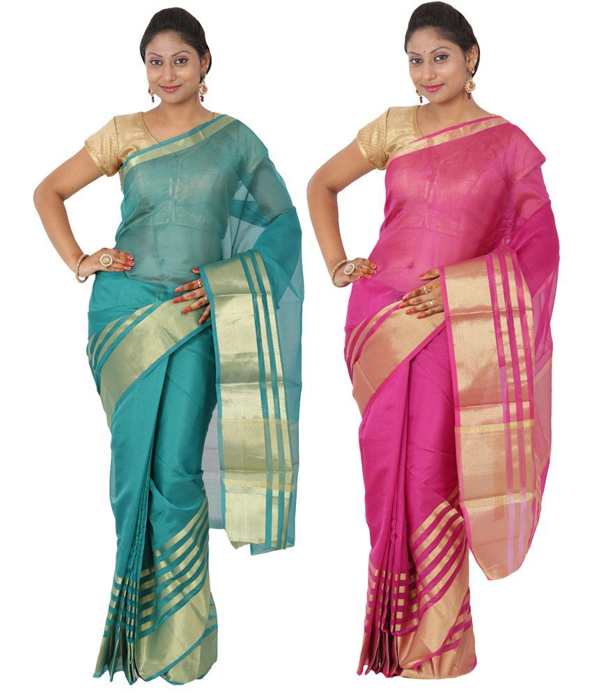 Maharaja Fashion Blue & Pink Art Silk Pack of 2