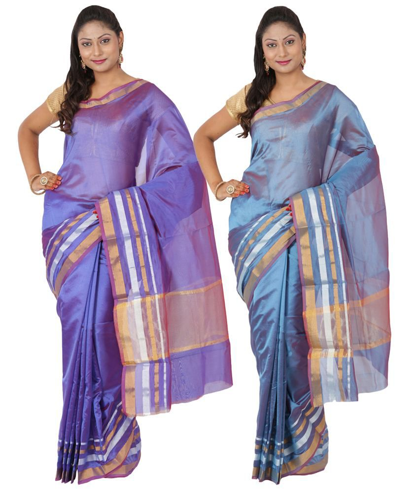 Maharaja Fashion Blue & Purple Art Silk Pack of 2