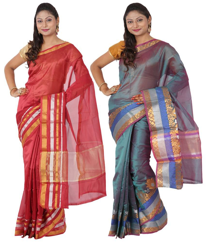 Maharaja Fashion Blue & Red Art Silk Pack of 2