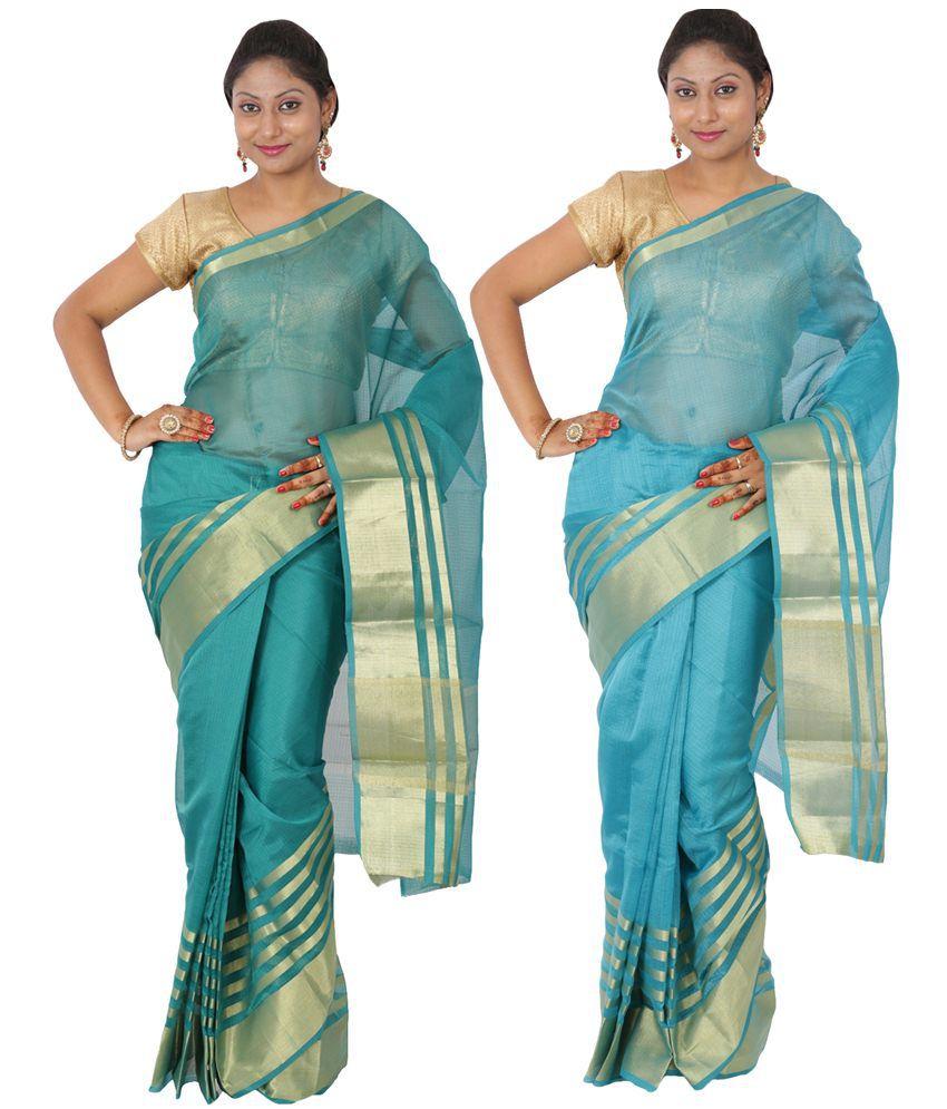 Maharaja Fashion Green & Blue Art Silk Pack of 2