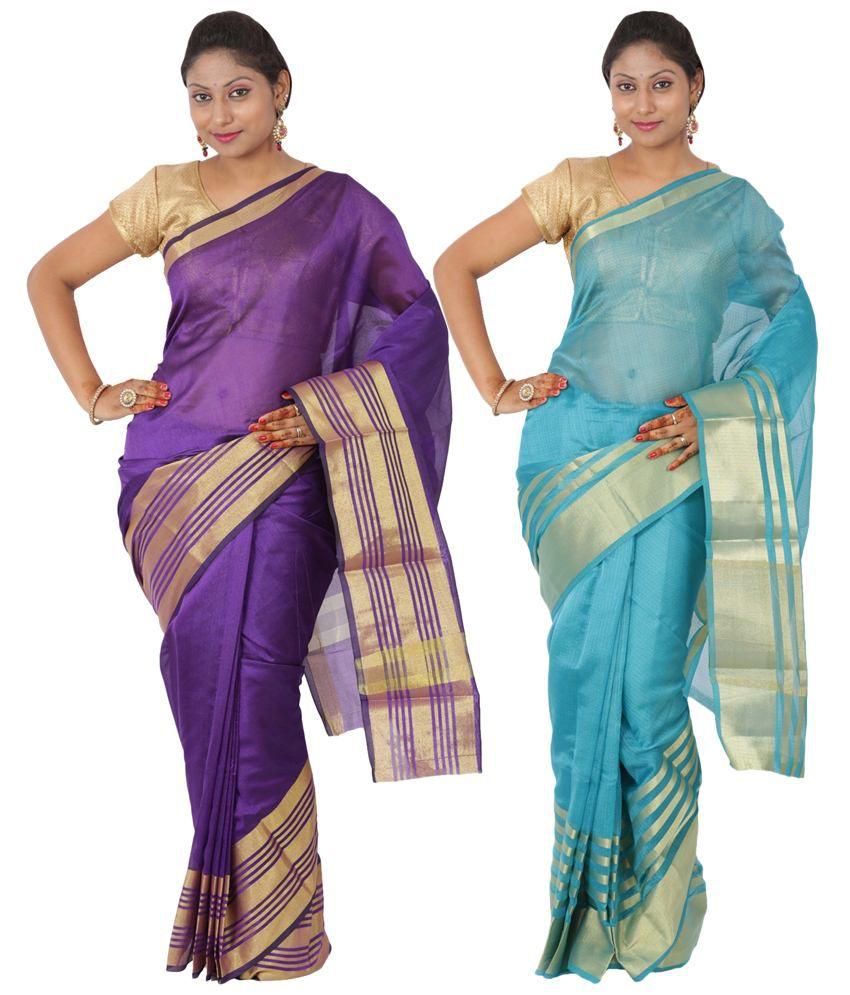 Maharaja Fashion Green & Purple Art Silk Pack of 2