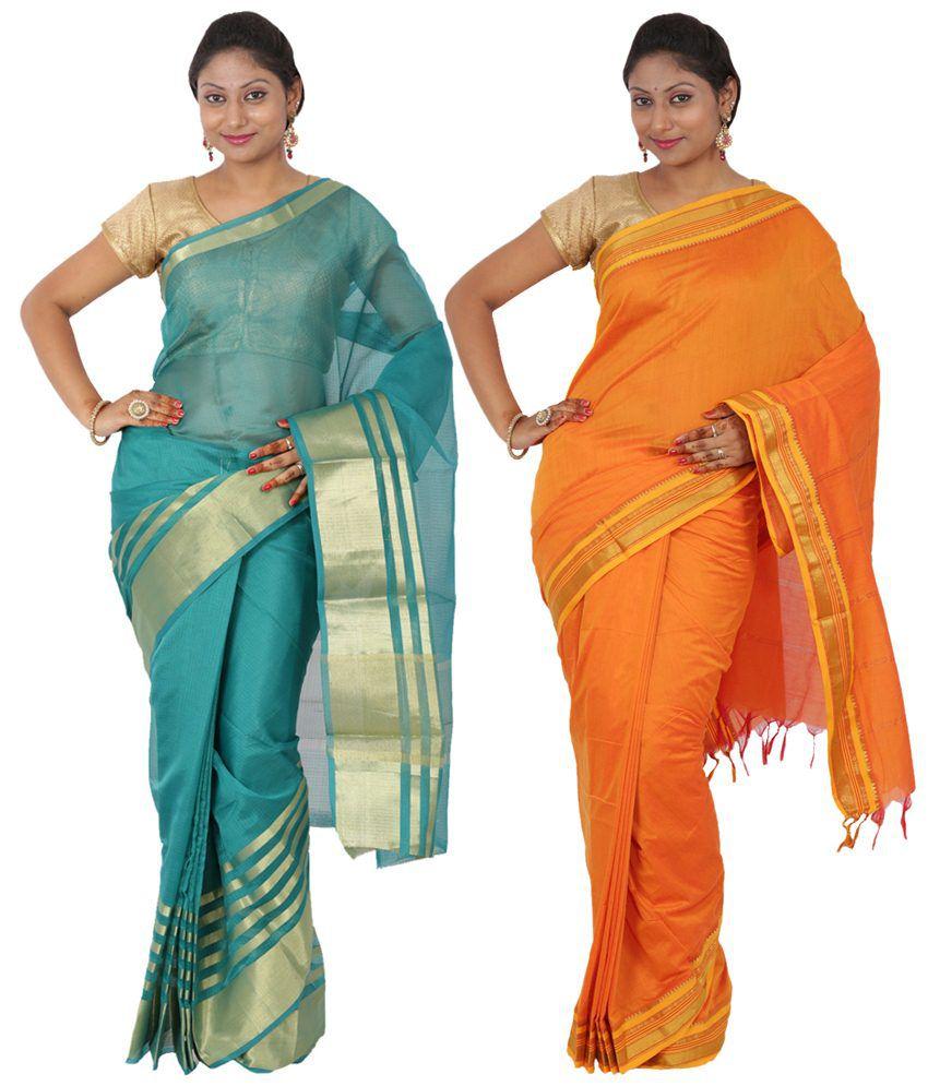Maharaja Fashion Orange & Blue Art Silk Pack of 2