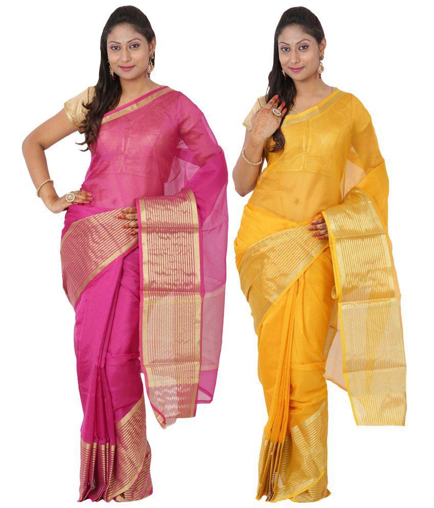 Maharaja Fashion Pink & Yellow Art Silk Pack of 2
