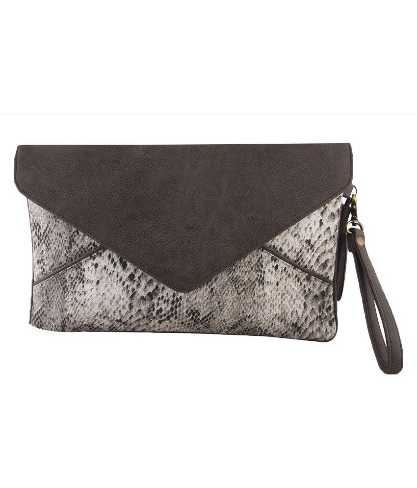 The Purple Sack Gray Magnetic Button Clutch