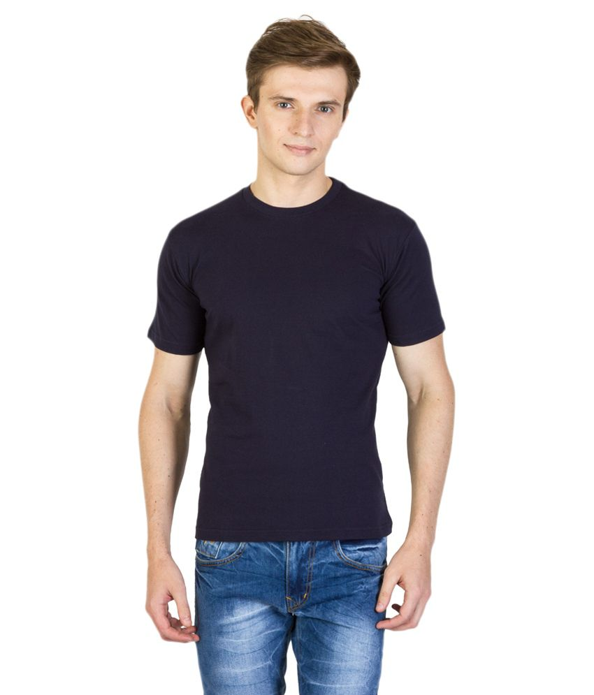 Value Shop India Navy Blue Cotton Round Neck T-shirt
