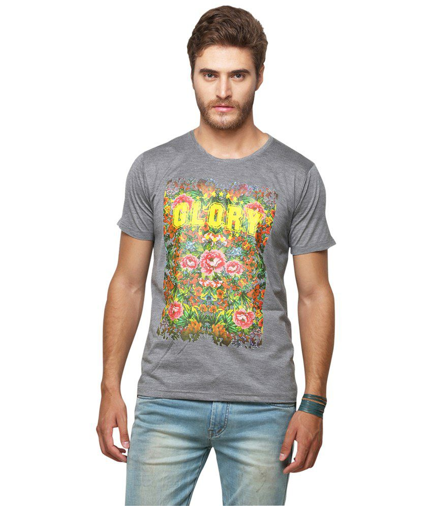 Yepme Gray Glory Photoprint T Shirt for Men