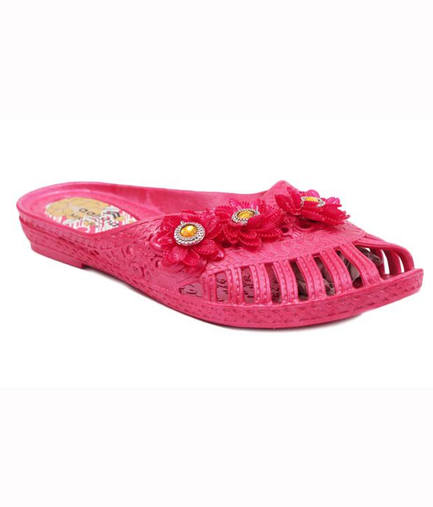 Aalishan Red EVA Low Heel Flip Flops