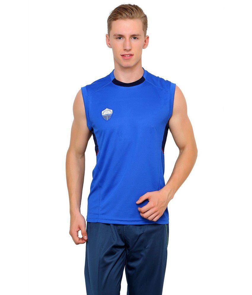 Dida Sportswear Blue Polyester Sleeveless T Shirt