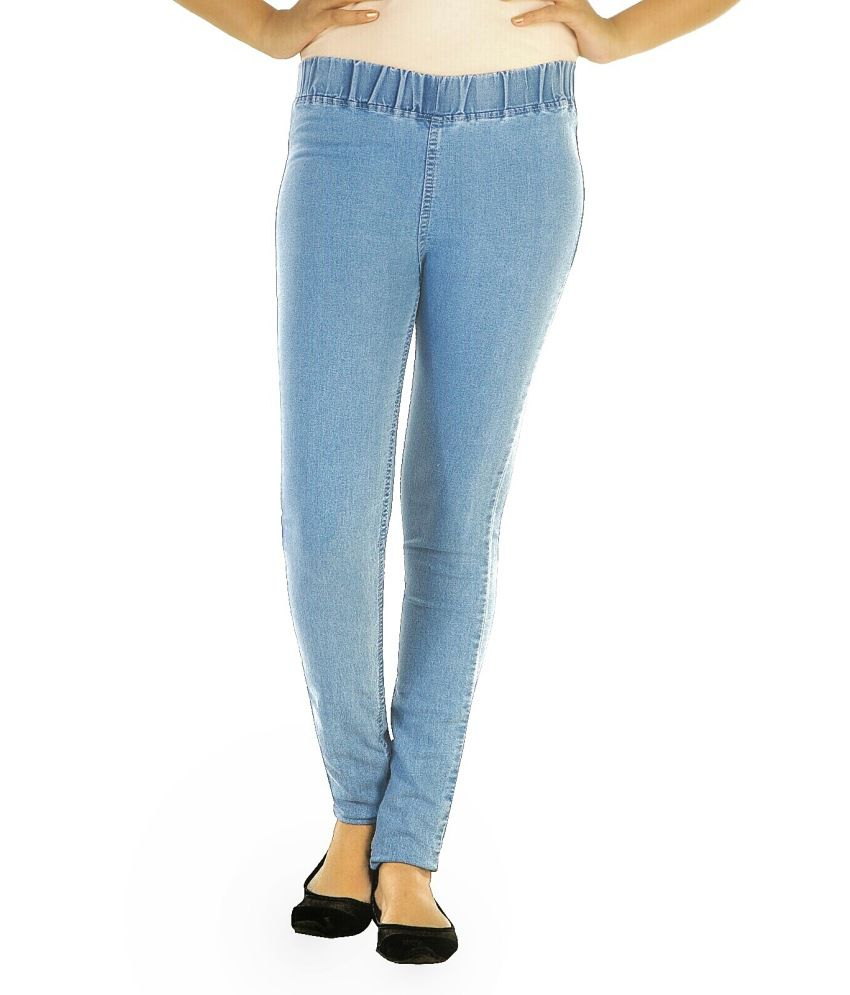 7e80ea60fc82c9 Buy Ebony-nx Blue Denim Jeggings Online at Best Prices in India - Snapdeal