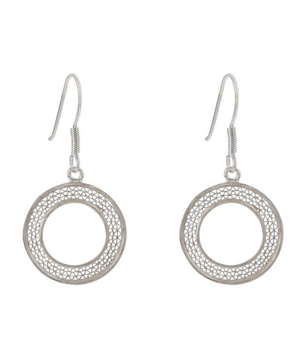 GemLN 92.5 Sterling Silver Round Filigree Dangler Silver Earrings