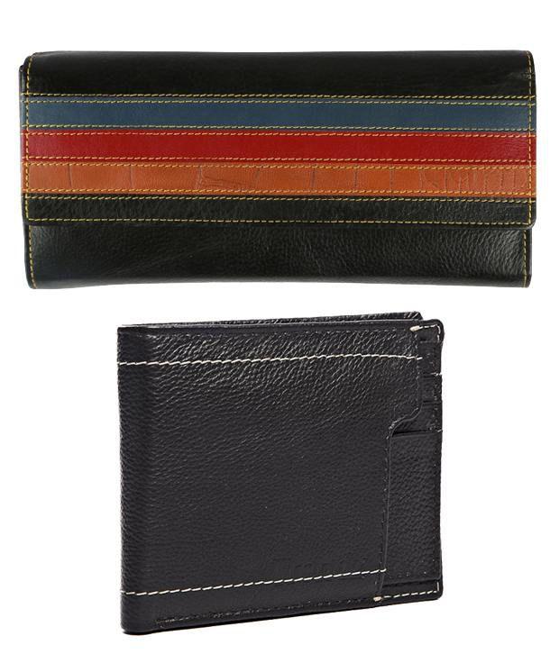 Trendz Black Leather Men & Women Wallets Combo