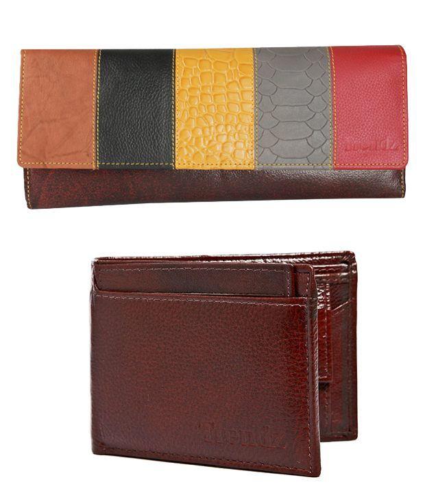 Trendz Brown Leather Men & Women Wallets Combo