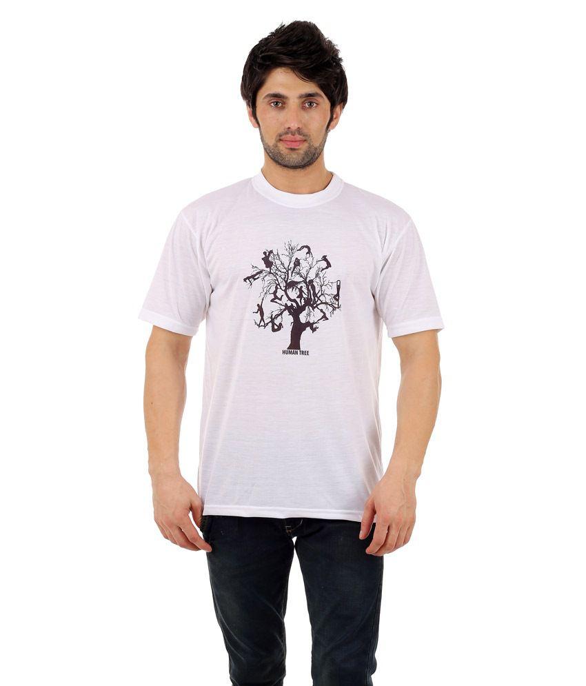Zegi Fantastic White & Brown Round Neck T Shirt for Men