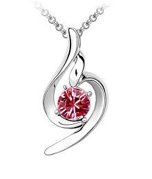 Eleganzza Pink An Diamond Fashion pendant with chain for girls and women