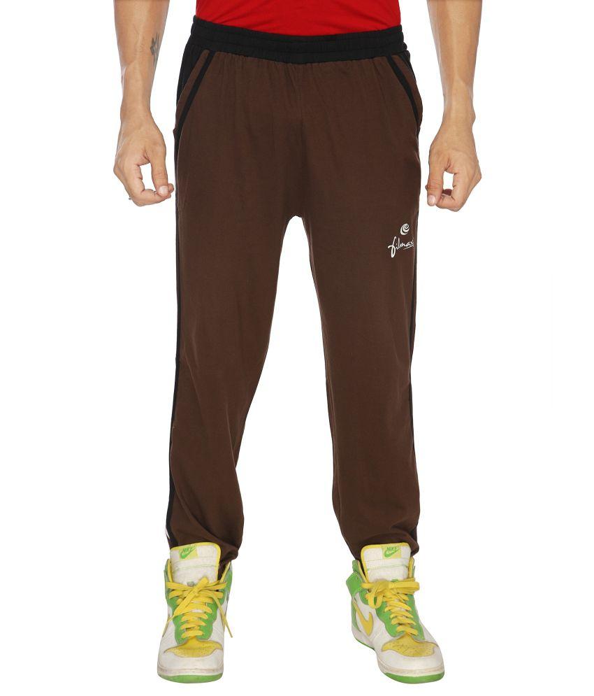 Filmax Brown Cotton Hosiery Track Pant