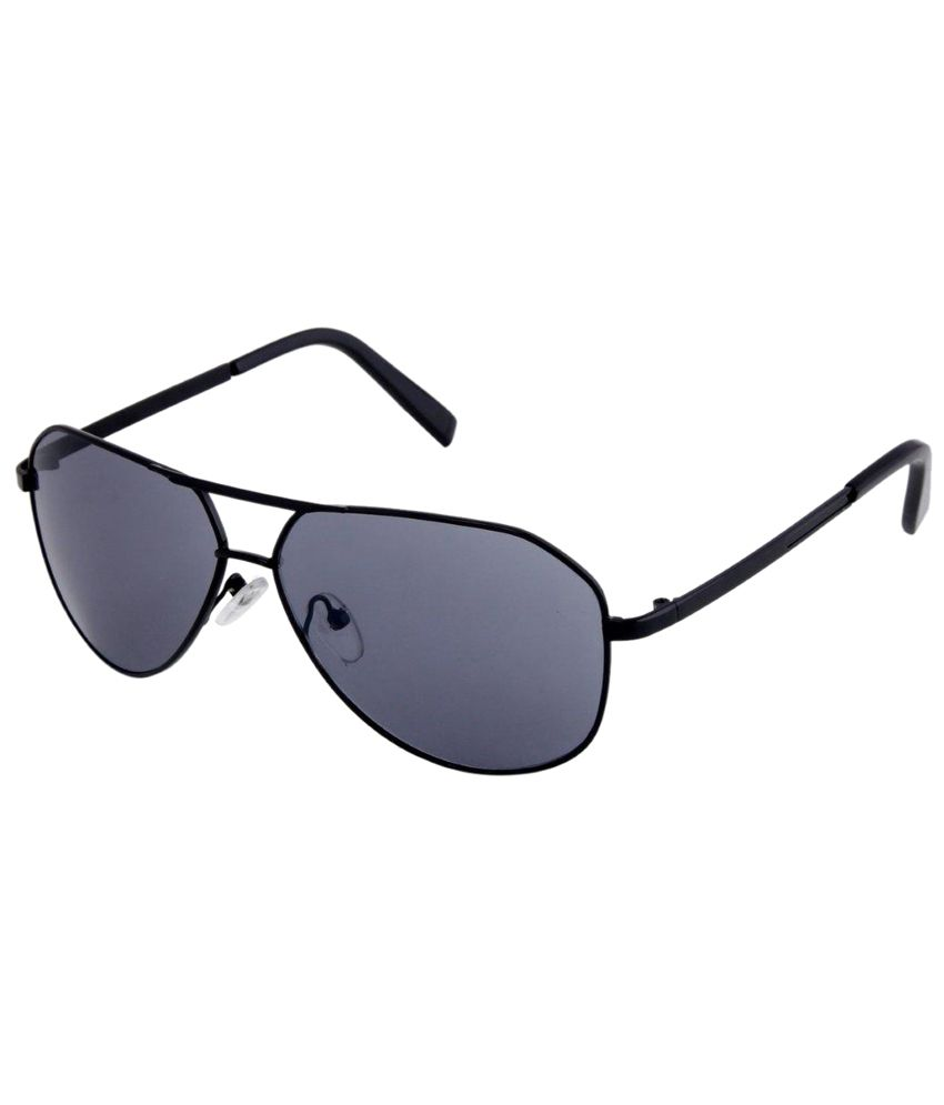 Gansta Amazing Gray & Black Unisex Aviator Sunglasses with Carry Case