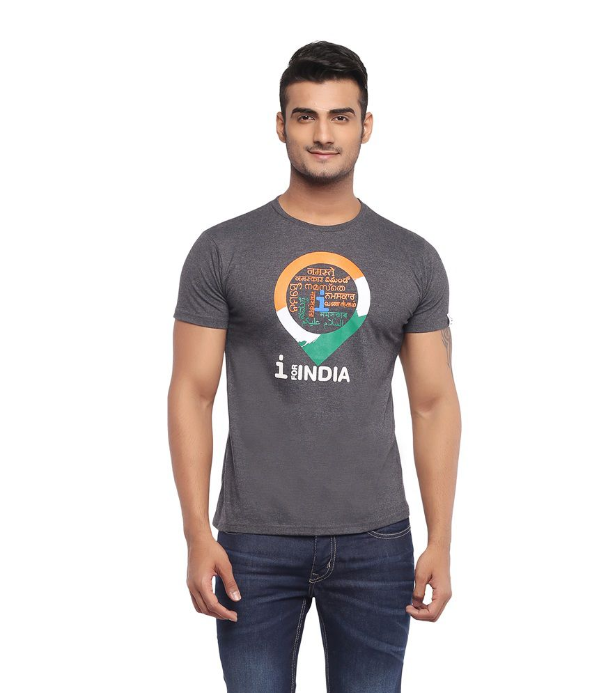 Imagica Black Cotton Blend Printed Round Neck T-Shirt
