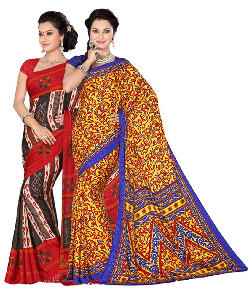 Vritika Yellow and Red Crepe Jacquard Pack of 2