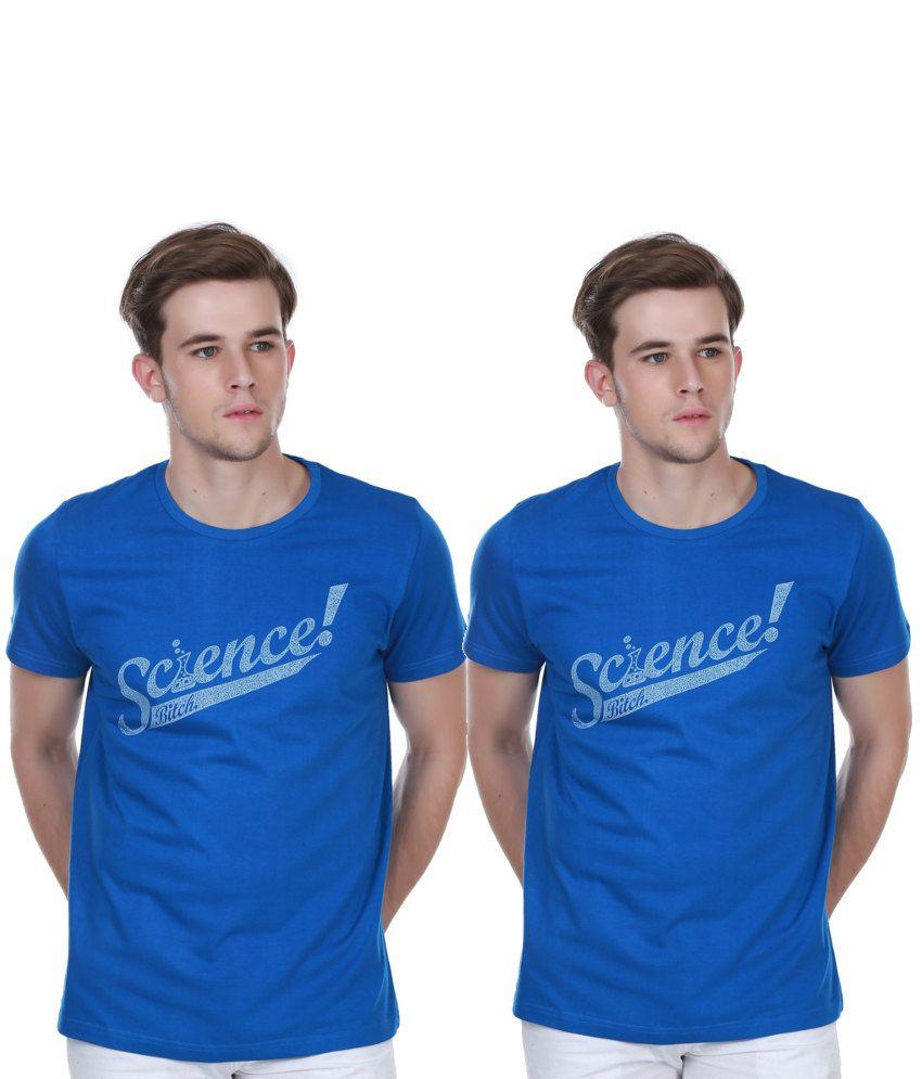 White Kalia Combo Of Blue Cotton T-shirts