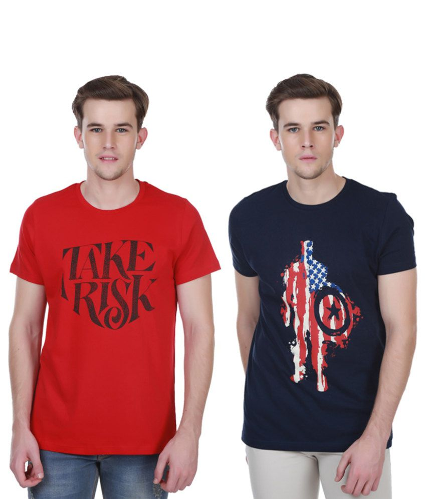 White Kalia Combo Of Red And Navy Cotton T-shirts