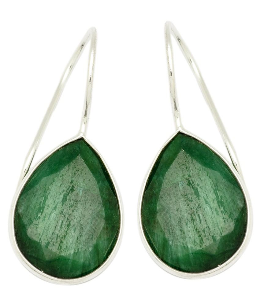 Yugshajewels Silver Single Stone 92.5 Sterling Silver Emerald Hangings Earings