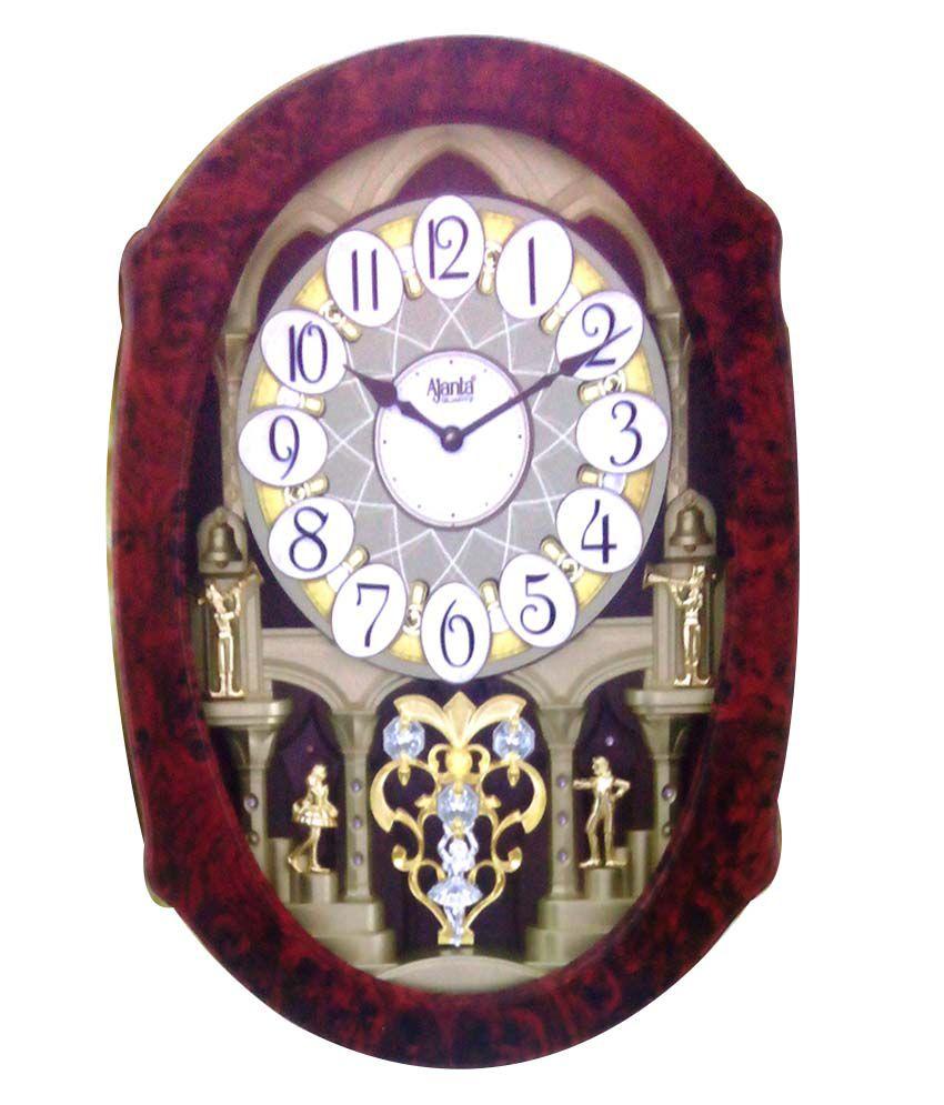 bb39894154 Ajanta Quartz Textured Wooden Premium Wall Clock