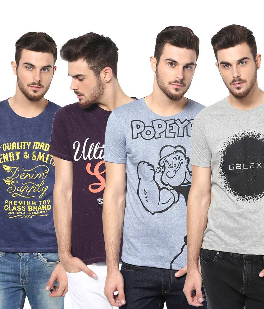 Henry and Smith Fabulous Multicolour Pack of 4 Round Neck Cotton T Shirts for Men