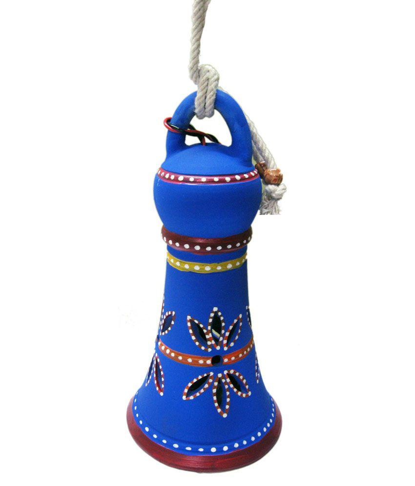 Karukraft Blue Terracotta Round Hanging Lamp: Buy