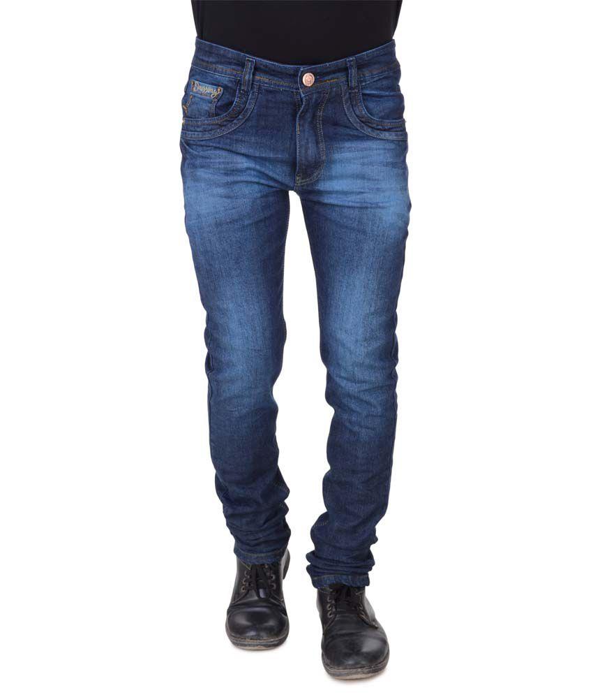 Threads Blue Cotton Blend Regular Fit Jeans