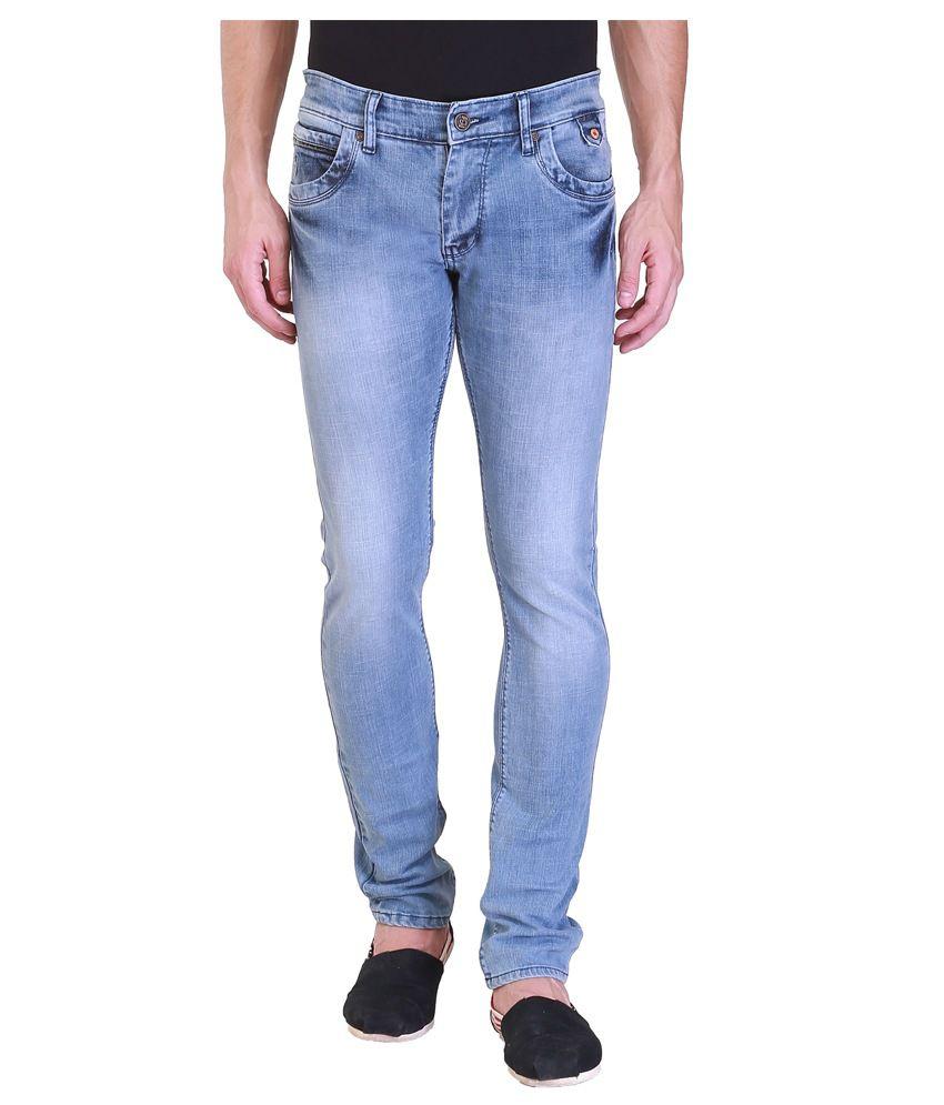 Vintage Blue Cotton Slim Jeans For Men