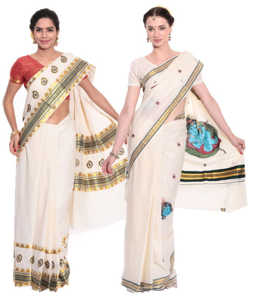 Fashion Kiosks GhostWhite and Blue Cotton Saree