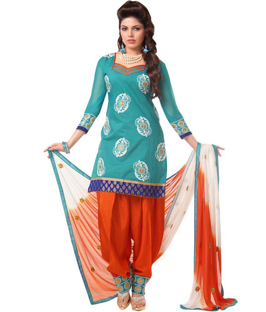 Pakiza Design Blue Cotton Unstitched Dress Material