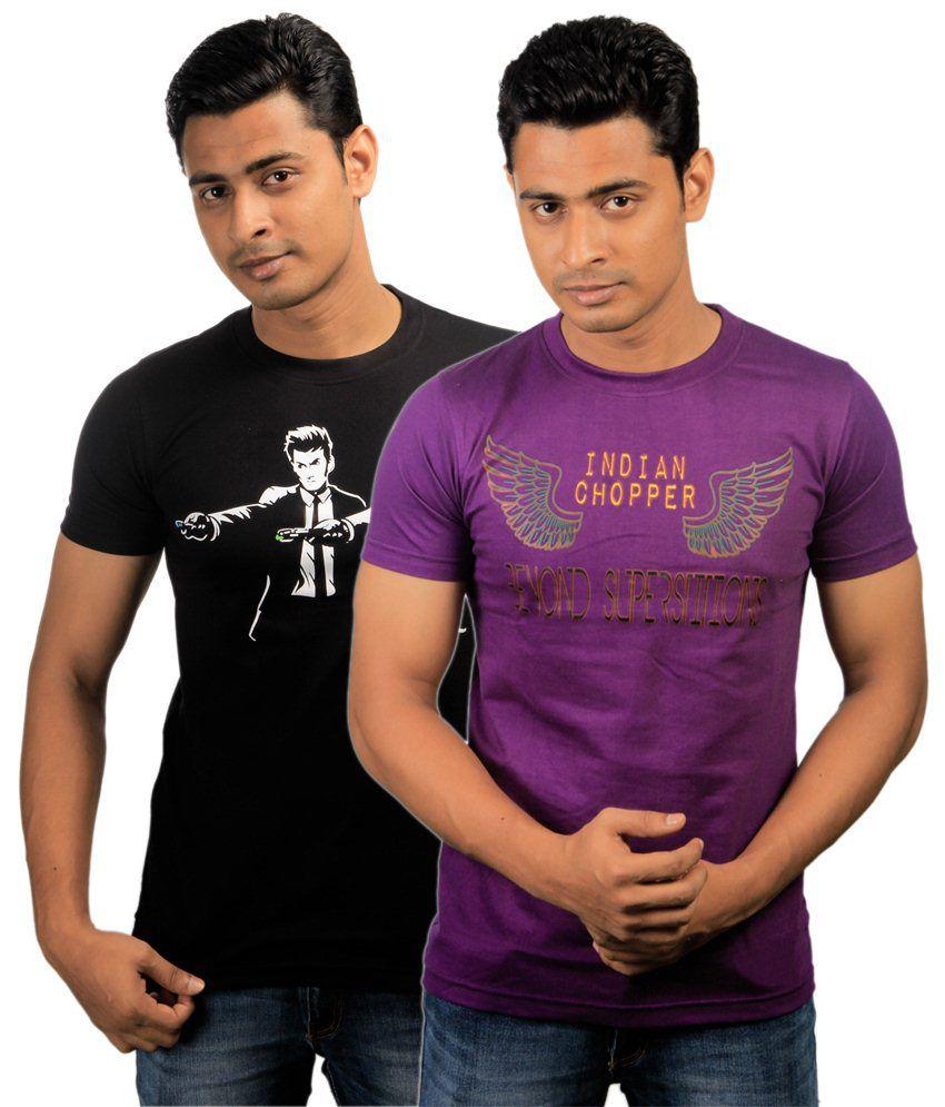 Paradigm Pack of 2 Purple & Black T Shirts for Men