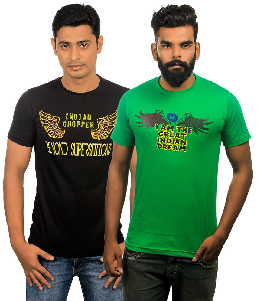 Paradigm Wonderful Pack of 2 Black & Green T Shirts for Men