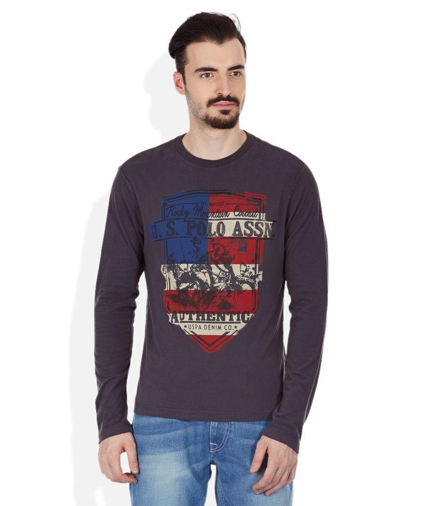 U.S. Polo Assn. Gray Round Neck T Shirt