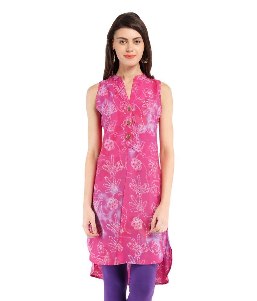 Folklore Pink Polyester Kurti