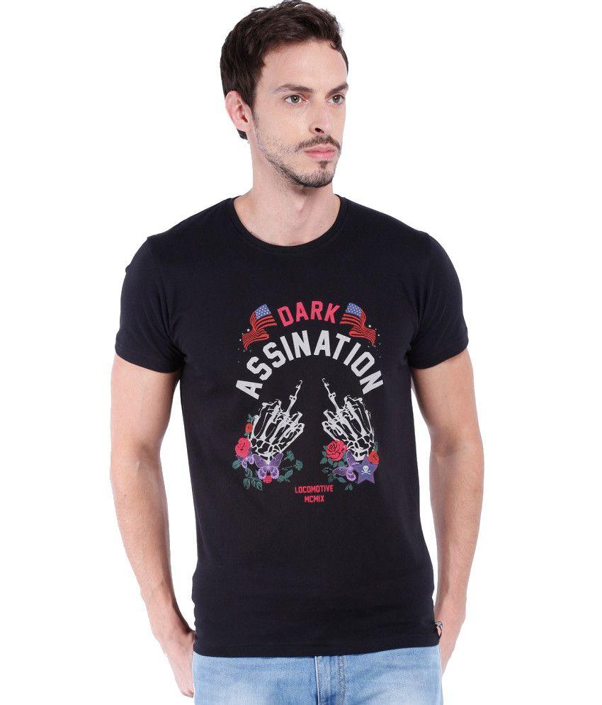 Locomotive Black Cotton Round Neck T-shirt