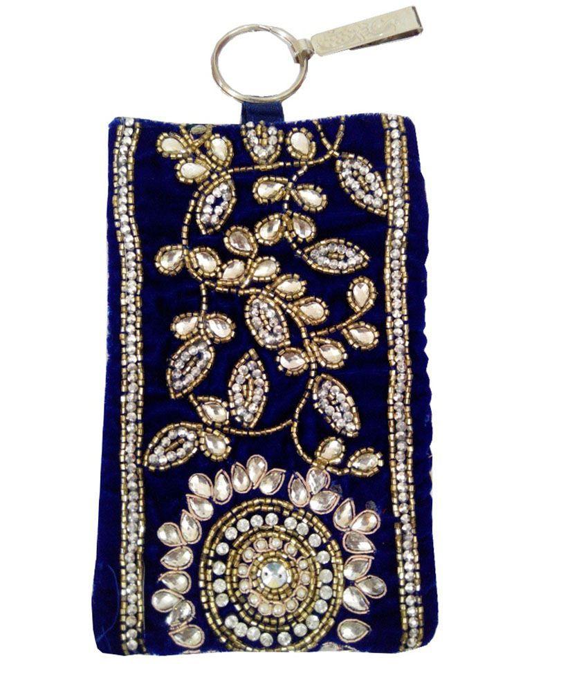 Mishti Creations Blue Handmade Ethnic Smart Phone Cover/Pouch