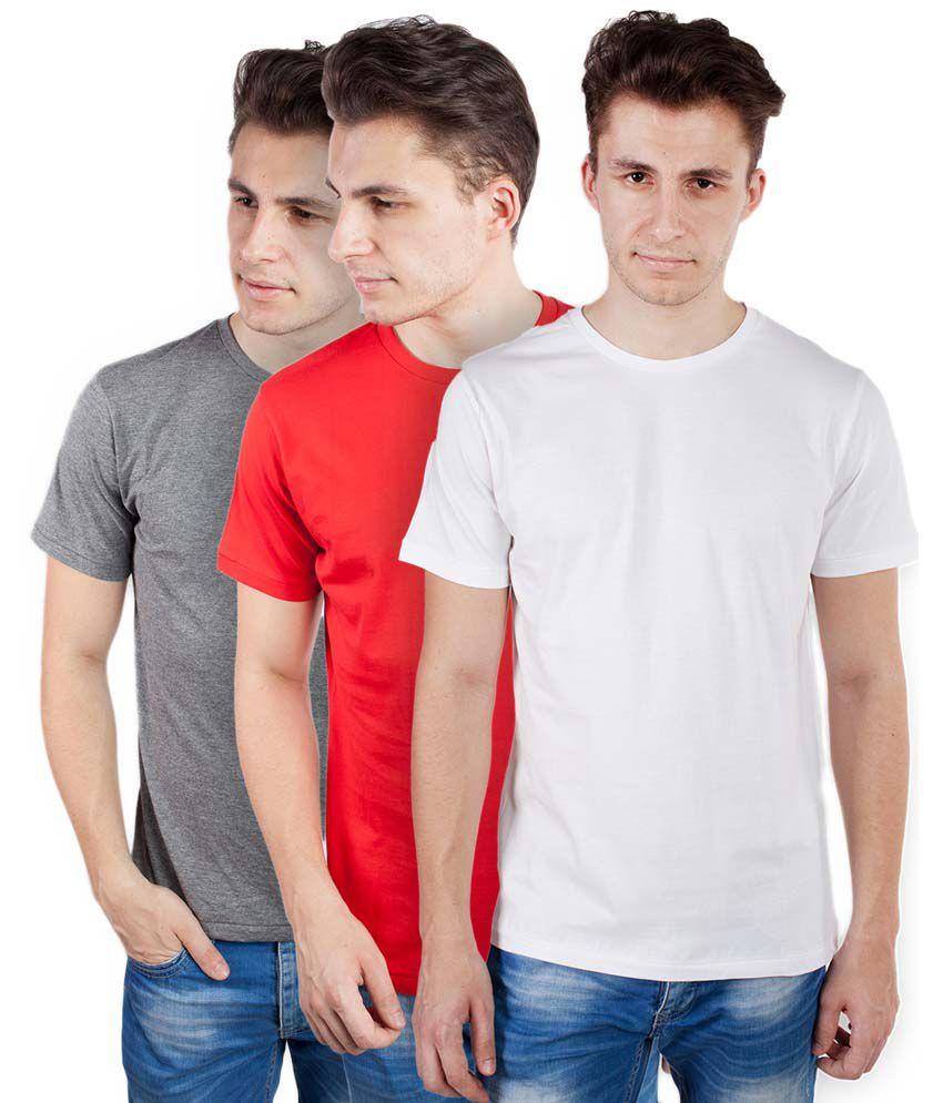 Tomo Multicolor Cotton Round Neck Half Sleeve Basics T-Shirt - Combo of 3