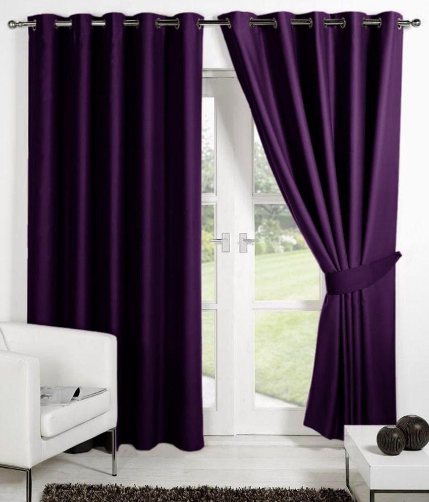 HOMEC Set of 2 Window Eyelet Curtains Solid Purple