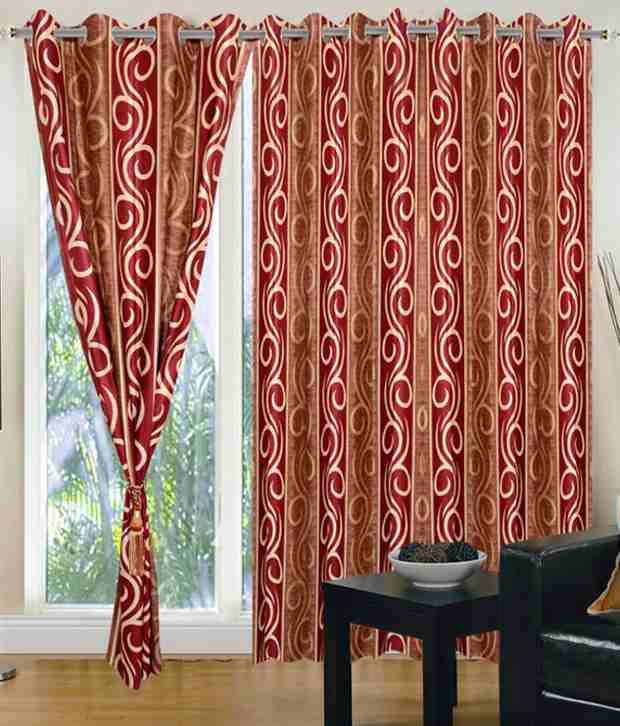 idecor set of 4 long door eyelet curtains printed red