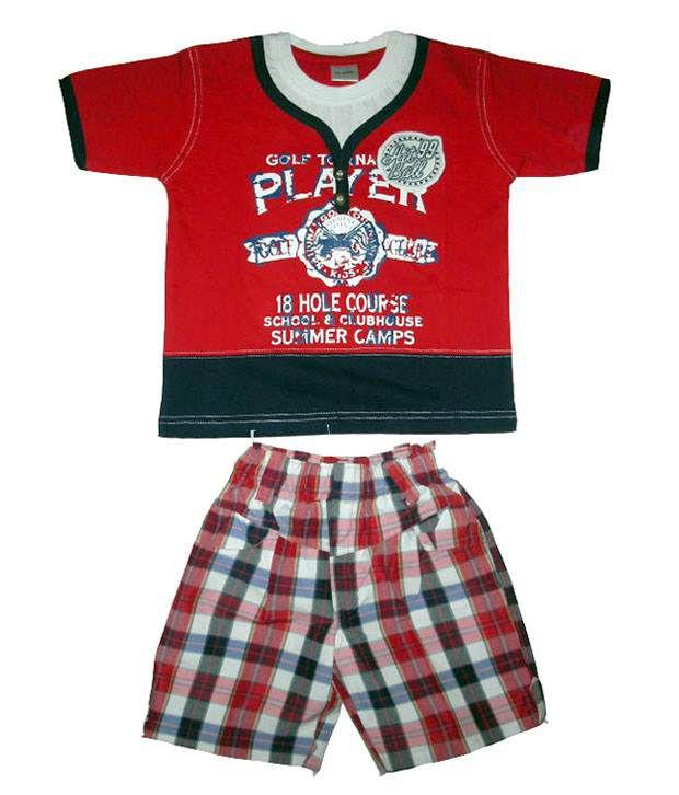 Orange Red Cotton T Shirt Pant Buy Orange Red Cotton T