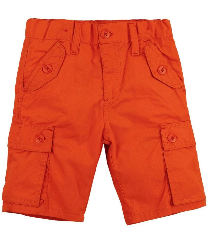 Oye Orange Cotton Shorts