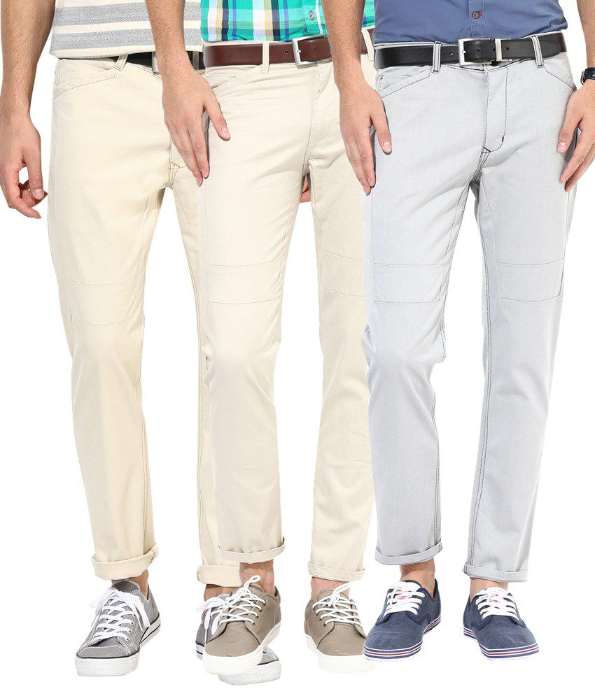 Silver Streak Cotton Chinos - Pack of 3