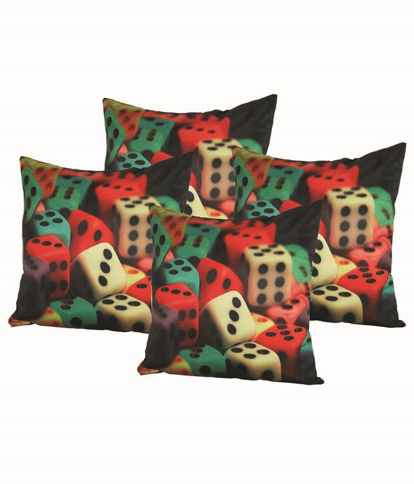 Car Vastra Multi Color Dice Printed Cushion Cover Set Of 4 (16X16 Inches)