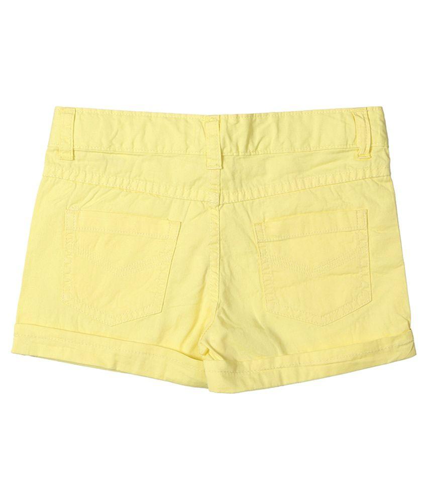 Chalk by Pantaloons Cotton Lycra Yellow Regular Fit Shorts