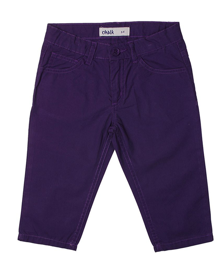 Chalk by Pantaloons Purple Casual Solid Capris