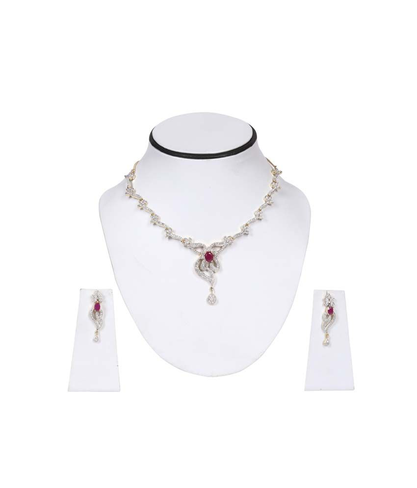 Gunnu Silver American diamonds Necklace Set